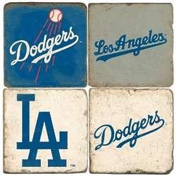 Los Angeles Dodgers Tumbled Italian Marble Coasters