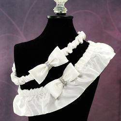White Silk Wedding Garter with Rhinestones