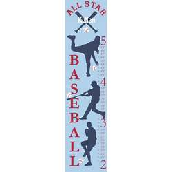 Personalized All Star Baseball Canvas Growth Chart