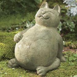 Handcrafted Volcanic Ash Fat Cat Garden Statue