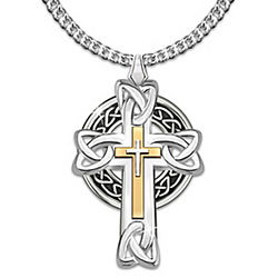 Men's Celtic Inspiration Stainless Steel Cross Pendant