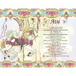 Carousel Personalized Name Meaning Certificate