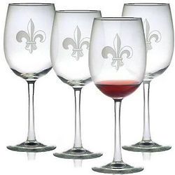 Fleur de Lis Etched Wine Glasses