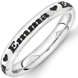 Personalized Name with Heart Black Antiqued Silver Ring
