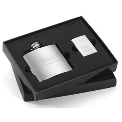 Personalized Brushed Flask and Zippo Lighter Gift Set
