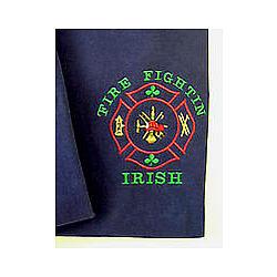 Fire Fightin' Irish Embroidered Navy T-Shirt
