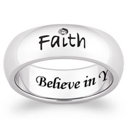 Stainless Steel Faith Engraved Sentiment Band