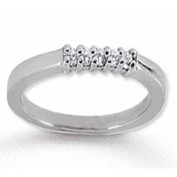 14k White Gold 5 Stone Diamond Anniversary Band