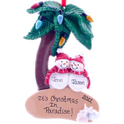 Honeymoon Ornament Tropical Beach Snow Couple
