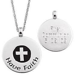 "Sterling Silver ""Have Faith"" Engraved Personalized Pendant"