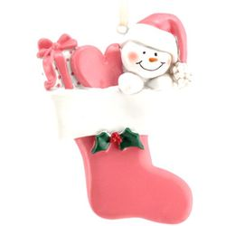 Personalized Snow Baby in Pink Stocking Ornament