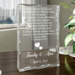 Personalized Love Never Fails Keepsake