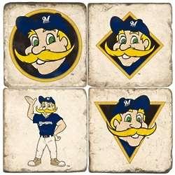Milwaukee Brewers Mascot Tumbled Italian Marble Coasters