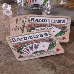 Personalized Poker Room Pub Coasters