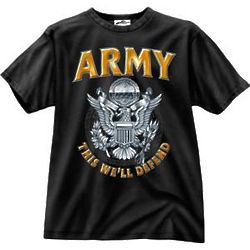 This We'll Defend Black Ink Design US Army T-Shirt