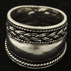 Braided Rope with Plain Band Sterling Ring