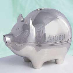 Engraved Silver Piggy Bank