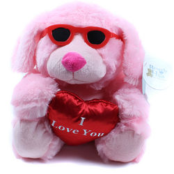 Pink Plush Dog with Sunglasses and I Love You Heart