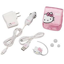 Hello Kitty Bluetooth Headset with Case, Ear Gels and Car Charger