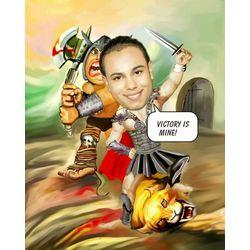 Sword Fighting Caricature Art Print
