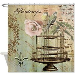 Vintage Style French Birdcage Shower Curtain