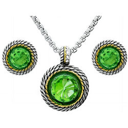 Peridot Round CZ Necklace and Earrings Set