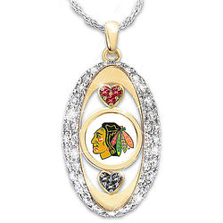 For the Love of the Game Chicago Blackhawks Swarovski Necklace