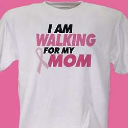 I am Walking for My Personalized Breast Cancer Ribbon T-Shirt