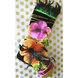 Peacock Feathered Caribbean Christmas Stocking