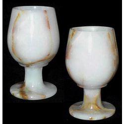 White Onyx Gemstone Wine Glasses