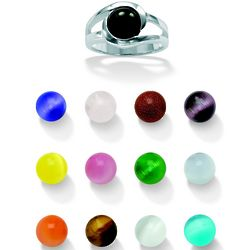 Women's Sterling Silver Interchangeable Stone Ring