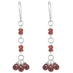 Garnet  Beaded Earrings in Sterling Silver