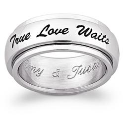 Stainless Steel True Love Waits Purity Spinner Engraved Band