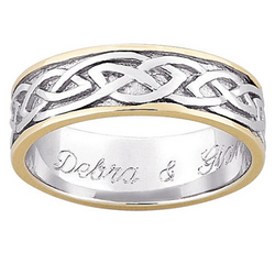 Personalized Sterling Silver Two-Toned Celtic Wedding Band