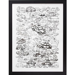 All the Taxis in New York Framed Drawing