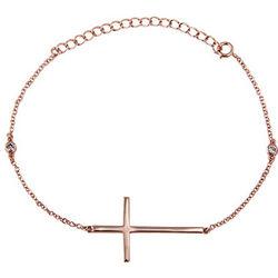 Rose Gold Sideways Cross Bracelet