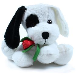 Black and White Plush Sitting Dog with Rose
