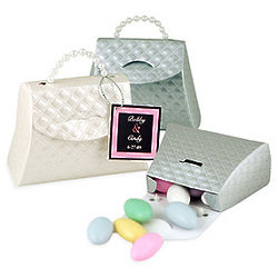 Quilted Design Satin Purse Favor Box