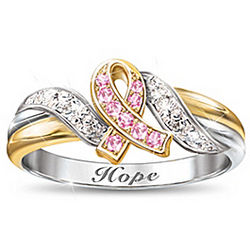 Hope's Embrace Engraved Breast Cancer Awareness Ring