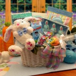 Bunny Fun Blue Easter Gift Basket