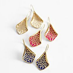 Enamel Diamond Shaped Drop Earrings