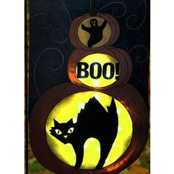 Boo Ghost and Black Cat LED Garden Flag