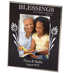 Blessings Black Floral Photo Frame