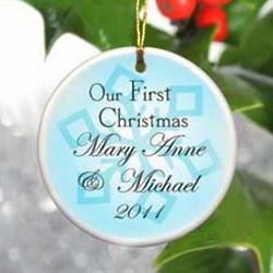 Personalized Our First Christmas Blue Snowflake Ornament