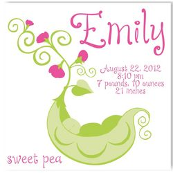 Sweet Pea Baby Girl Canvas Birth Announcement