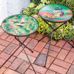 Glass Top Folding Hummingbird or Butterfly Side Table