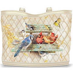 Bird Themed Quilted Tote Bag with Cosmetic Cases