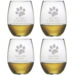 Dog Wisdom Stemless Wine Glasses