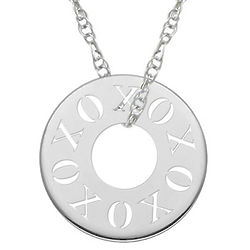 Cut-Out XOXO Circle Pendant Necklace in White Gold