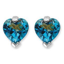 London Blue Topaz Heart Stud Earrings in 14K White Gold